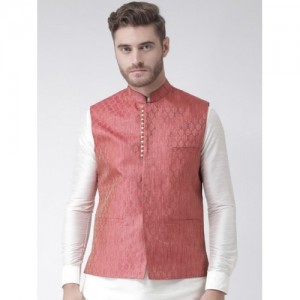 DEYANN Men Red Woven Design Nehru Jacket