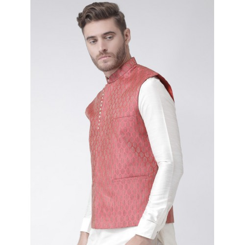 DEYANN Men Red Woven Design Nehru Jacket