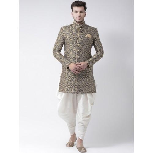 Deyann Navy Blue & White Cotton Silk Embroidered  Sherwani
