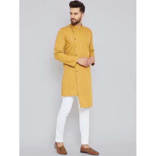 See Designs Mustard Cotton Silk Solid Straight Kurta