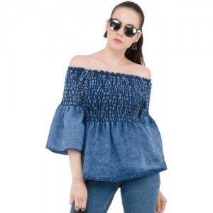 Clothvilla Casual Regular Sleeve Solid Blue Top