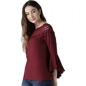 STYLE QUOTIENT Maroon Solid Stylish Western Wear Top