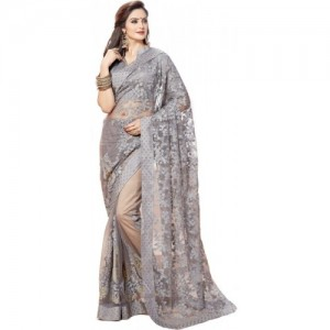 Nine Sister Grey Embroidered Bollywood Nylon Net Saree