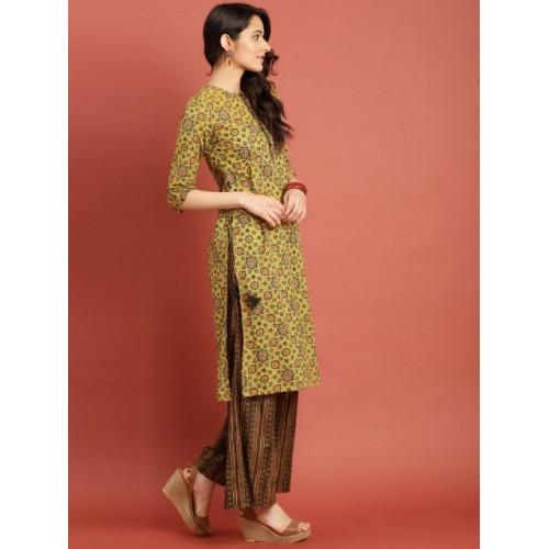 Taavi Green Cotton Block Print Legacy Kurta Set with High Slits and Tie-ups