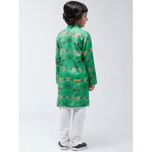 SOJANYA Boys Green & White Printed Kurta with Churidar