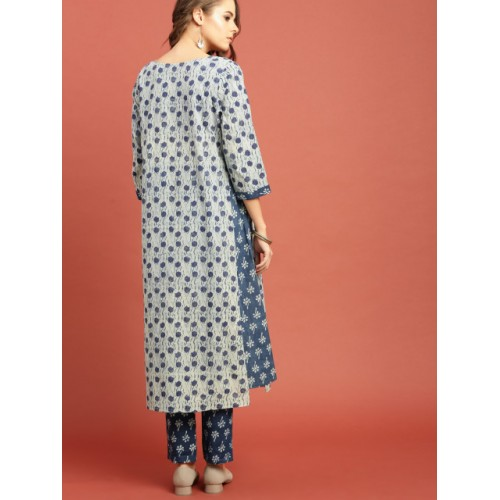 Taavi Blue Cotton Hand Block Print A-Line Kurta Set with Asymmetric Hem