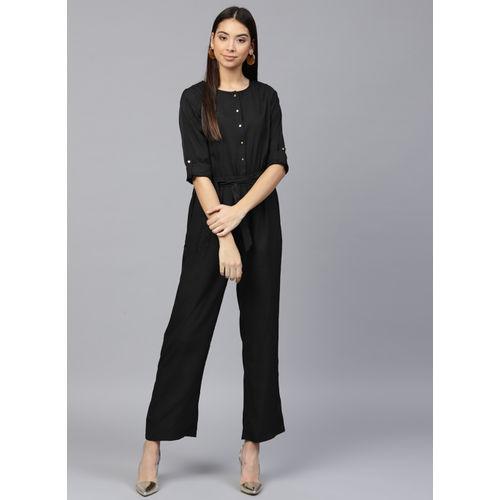 Sassafras Black  Solid Women's Jumpsuit