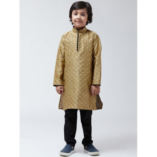 SOJANYA Boys Gold-Toned & Black Printed Kurta with Churidar