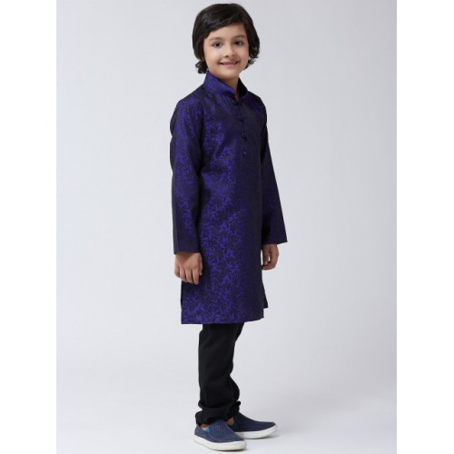 SOJANYA Boys Blue & Black Printed Kurta with Churidar