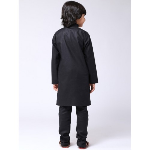 SOJANYA Boys Black Solid Kurta with Churidar