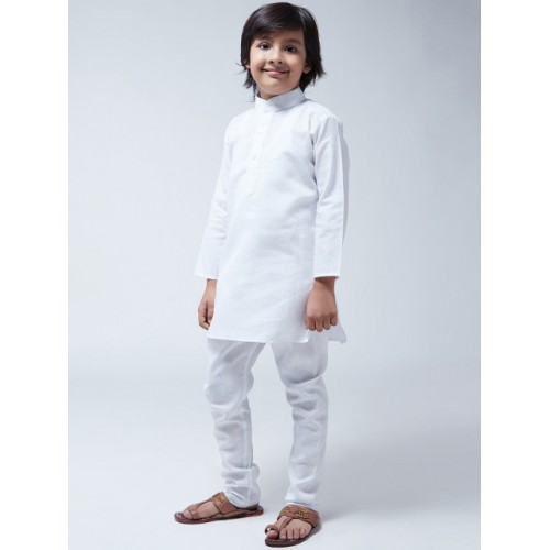 SOJANYA Boys White Solid Kurta with Churidar