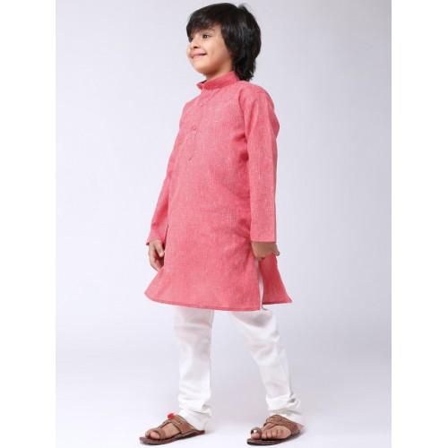 SOJANYA Boys Red & Off-White Solid Kurta with Churidar