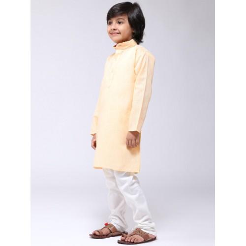 SOJANYA Boys Yellow & Off-White Solid Kurta with Churidar