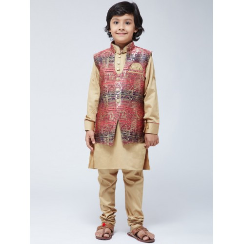 SOJANYA Boys Gold-Toned & Pink Self Design Kurta with Churidar