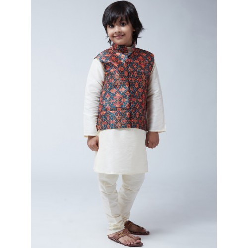 SOJANYA Boys Off-White Solid Kurta with Churidar