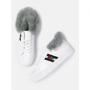 Kook N Keech Women White Sneakers with Faux Fur Detail