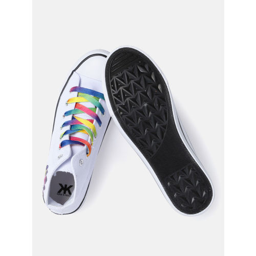 Kook N Keech White Printed Synthetic Lace Up Casual Shoes
