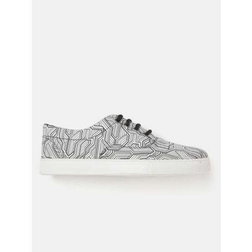 Kook N Keech White & Black Synthetic Lace Up Casual Shoes