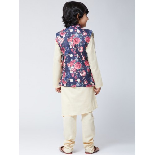SOJANYA Boys Cream-Coloured & Blue Printed Kurta with Churidar & Nehru Jacket