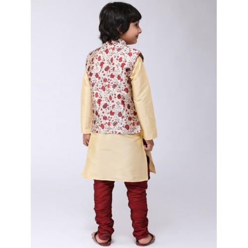 SOJANYA Boys Gold-Toned & Maroon Printed Kurta with Churidar