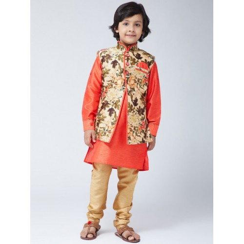 SOJANYA Boys Orange & Orange Printed Kurta with Churidar