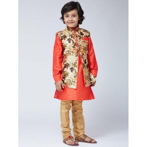 SOJANYA Boys Orange & Orange Printed Kurta with Churidar