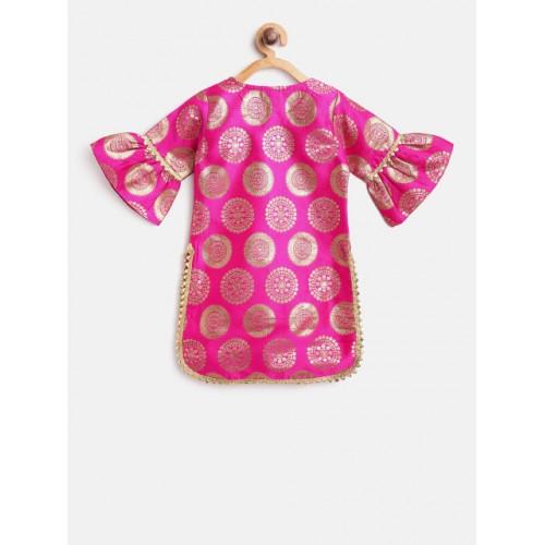 pspeaches Girls Pink & Orange Self Design Kurta with Palazzos & Dupatta