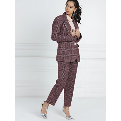 all about you Women Burgundy Self Design Coat with Trousers