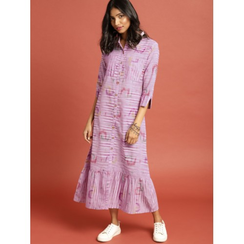 Taavi  Purple South Cotton Woven Legacy A-Line Midi Dress with Pockets