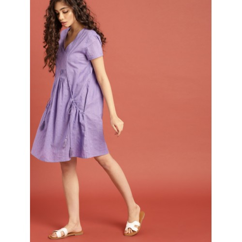 Taavi Purple South Cotton Woven Legacy A-Line Dress with Pockets