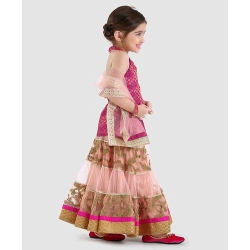 Pspeaches Peach & Magenta Sleeveless Embroided Choli And Lehenga With Dupatta Set