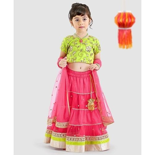 Pspeaches Pink And Green Short Sleeves Lehenga Choli With Dupatta Set