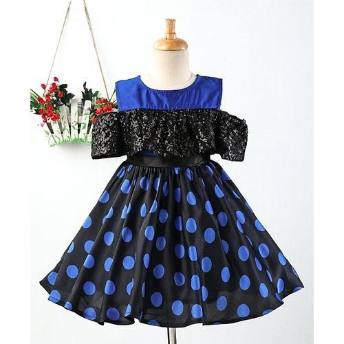 Pspeaches Polka Dots Print Cold Shoulder Dress - Blue
