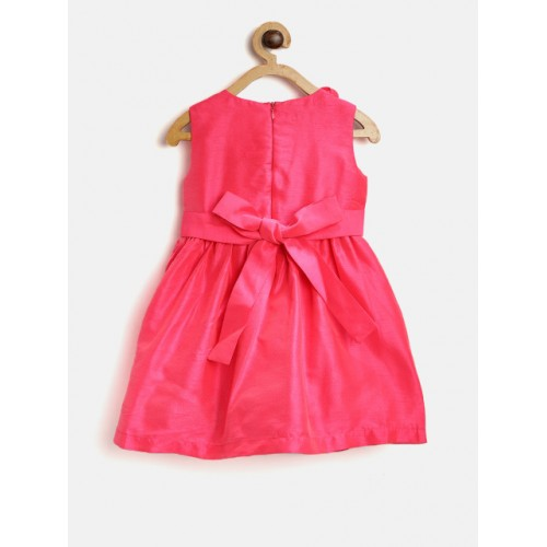 pspeaches Girls Pink Solid A-Line Dress with Applique Detail