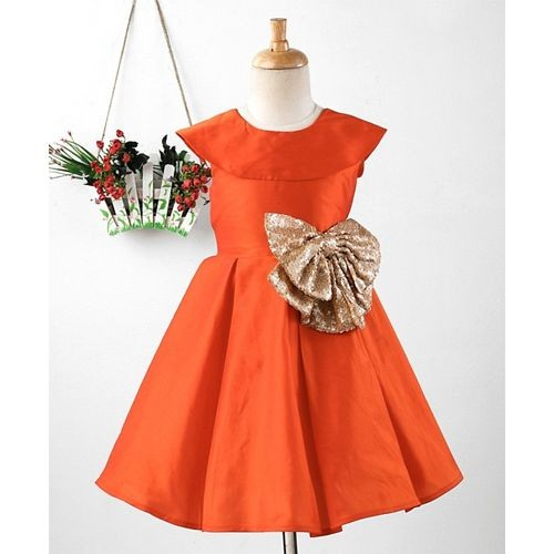 Pspeaches Flower Applique Sleeveless Dress - Orange