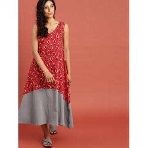 d70a8cc15b9 Taavi Red   Grey Cotton Inspired by Craft Block Print Legacy A-Line Kurta
