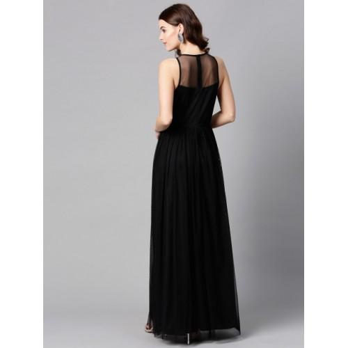 STREET 9 Black Solid Net Maxi Dress