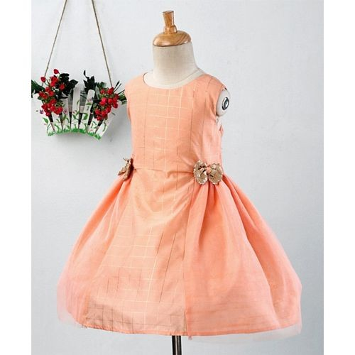 Pspeaches Bow Applique Sleeveless Dress - Peach