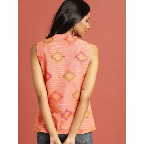 Taavi Women Orange South Cotton Woven Legacy Top with Gathers
