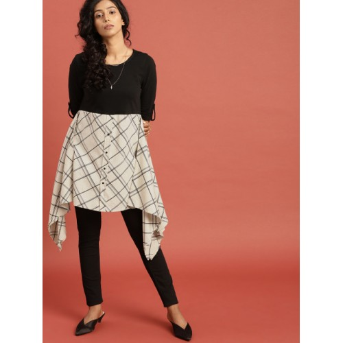 Taavi Black & White Cotton Checked Inspired By Craft Print Legacy Asymmetric Top