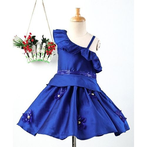 Pspeaches Flower Applique Sleeveless Dress - Blue