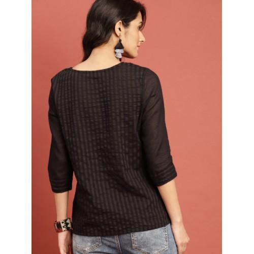 Taavi Black Cotton Woven Legacy Regular Semi-Sheer Top