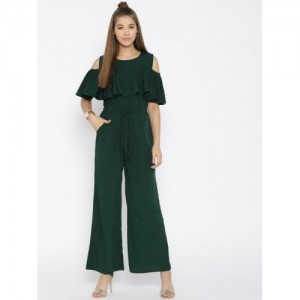Cottinfab Olive  Solid Cold-Shoulder Jumpsuit