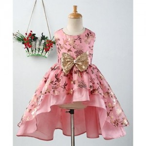 Pspeaches Pink Foil Print Sleeveless Dress With Bow Applique