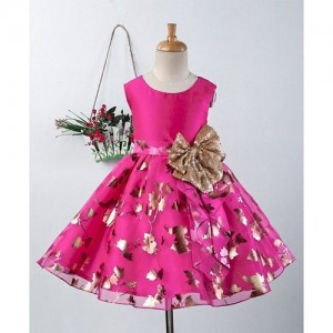 Pspeaches Pink Foil Design Sleeveless Dress