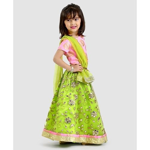 Pspeaches Short Sleeves Choli And Embroidered Lehenga With Dupatta Set - Green