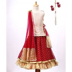 Pspeaches Sequin Design Sleeveless Choli & Lehenga With Dupatta Set - Red