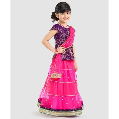 Pspeaches Cap Sleeves Choli & Mirror Work Lehenga With Dupatta Set - Magenta & Purple