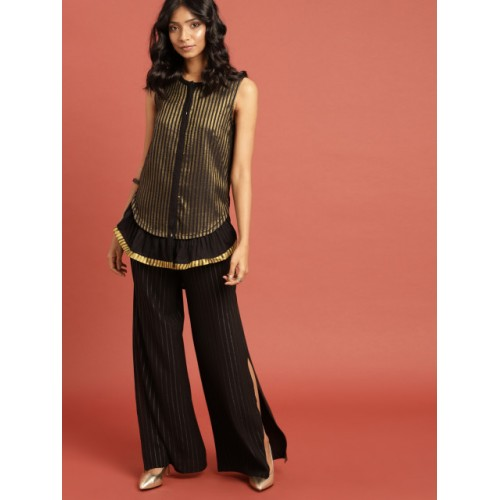 Taavi Black & Gold-Toned Cotton Striped Kasavu Tunic