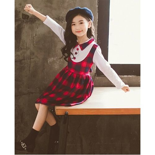 Pre Order - Awabox Collared Full Sleeves Dress With Checks - Red